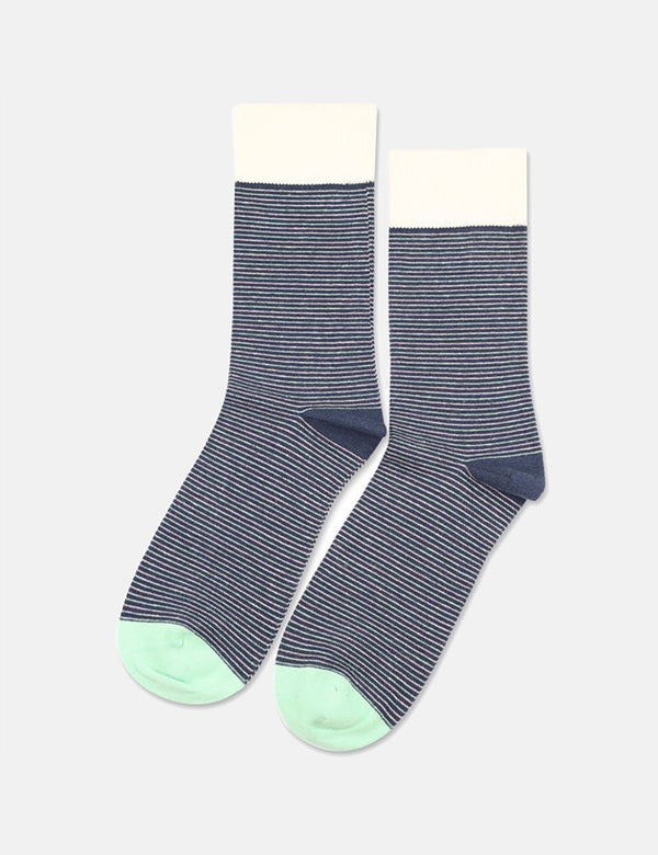 Democratique Ultralight Stripe Socks - Shaded Blue/Off White/Pale Green/Pale Pink