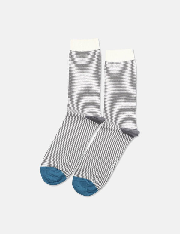 Democratique Originals Ultralight Stripe Socks - Warm Coal Grey/Off White/Diesel Blue