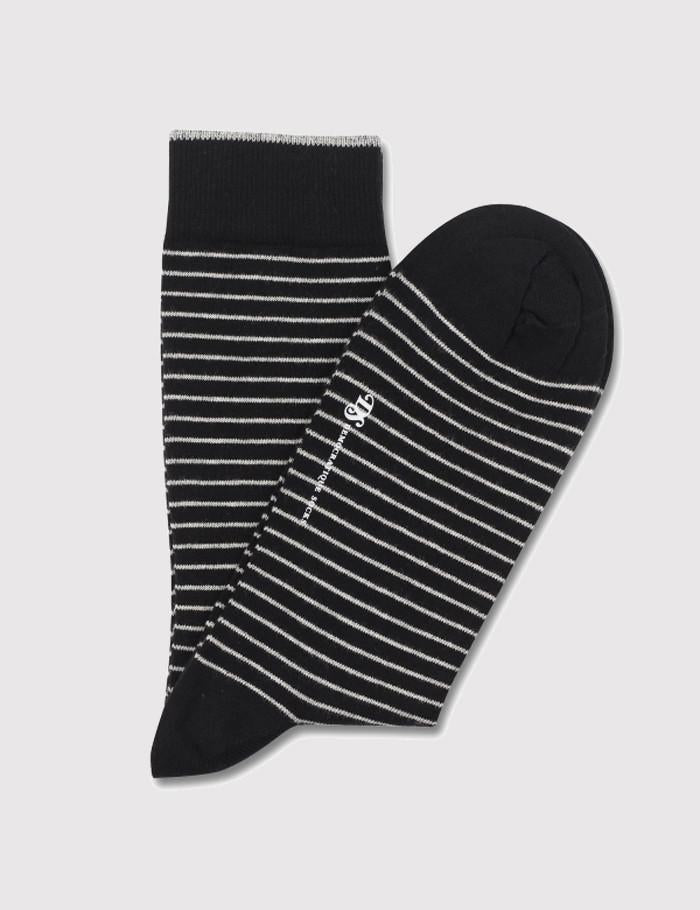 Democratique Mini Striper Socks - Black/Light Grey