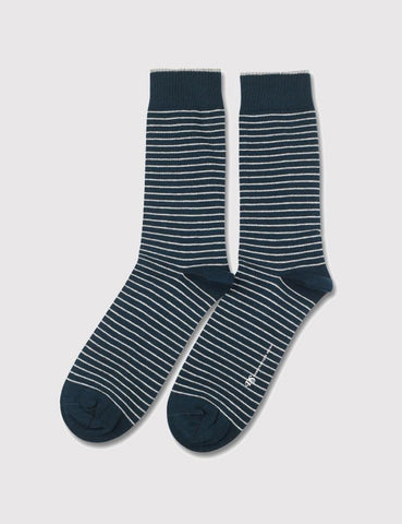 Democratique Mini Striper Socks - Emerald Green/White