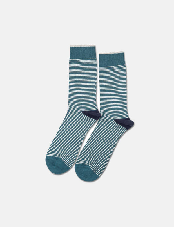 Democratique Mini Stripes Socks - Benzin Green/Off White/Navy Blue - Article