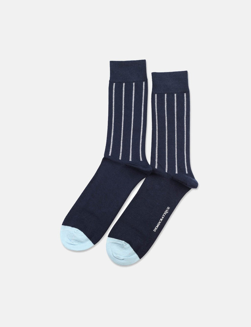 Democratique Originals Latitude Striped Socks - Navy Blue/Clear White/Light Blue