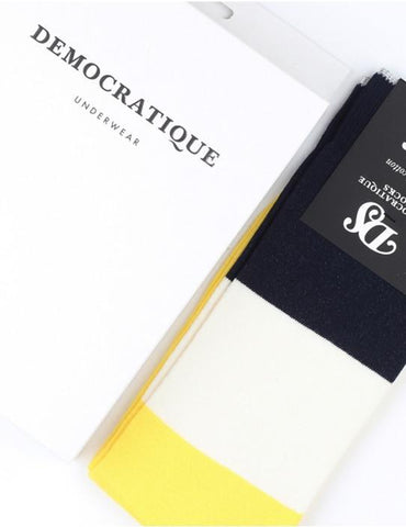 Democratique Block Party Socks - Yellow/White/Navy