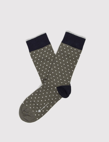 Democratique Pola Socks - Army Green/White/Navy