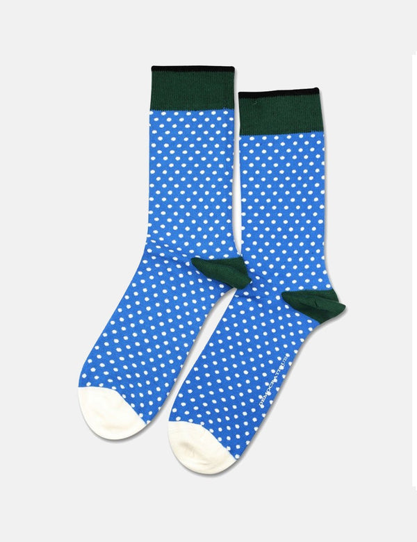 Democratique Original Polkadot Socks - Blue Eyes/Off White/Forrest Green