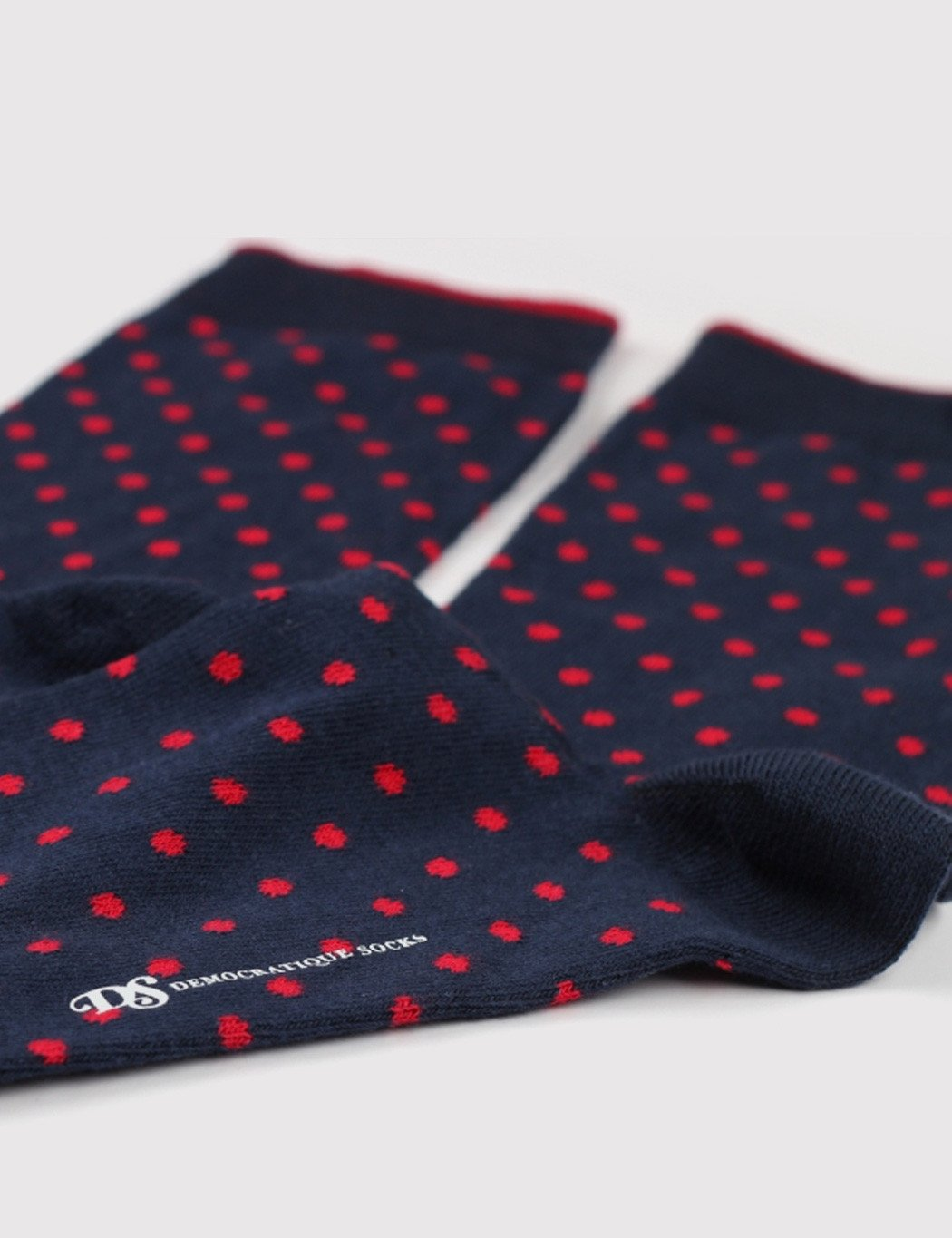 Democratique Original Polkadot Socks - Navy/Spring Red
