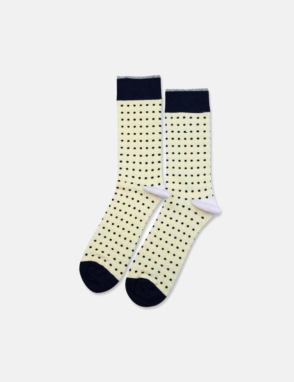 Democratique Original Polkadot Socks - Pale Yellow/Off White/Shaded Blue - Article