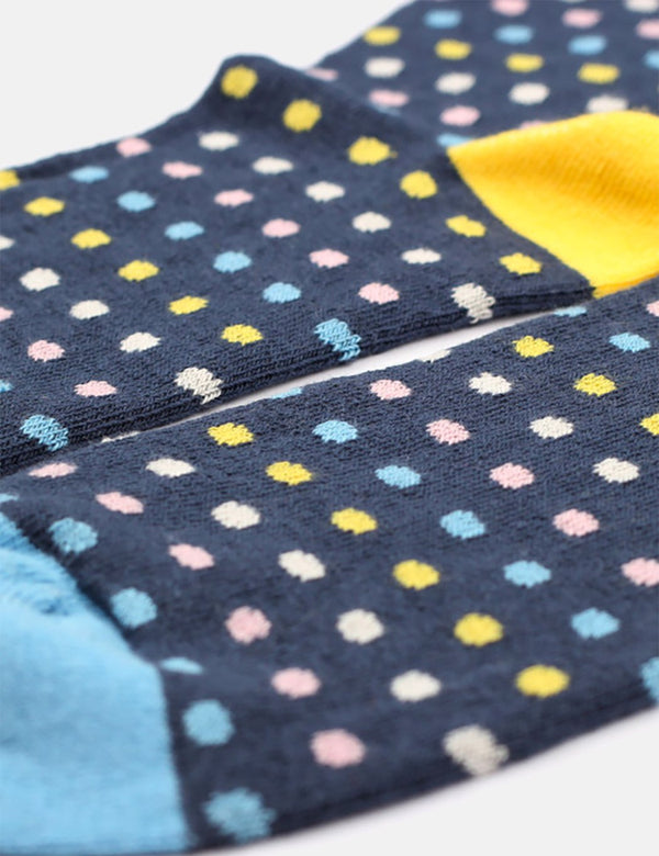 Democratique Polkadot Socks - Shaded Blue/White/Pink/Yellow