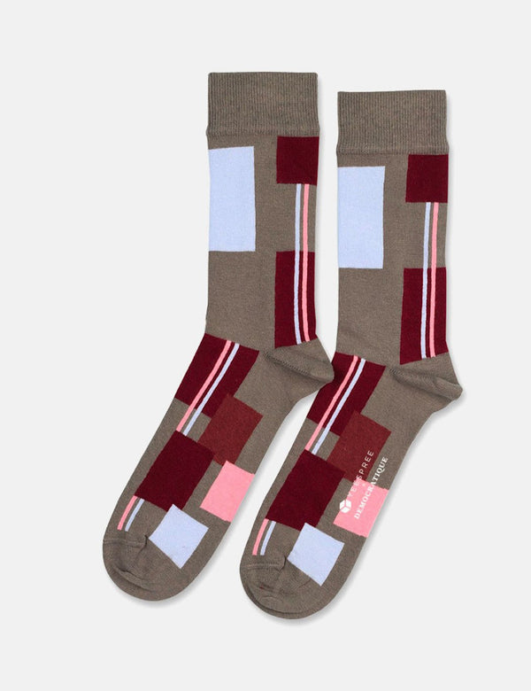 Democratique x YEESPREE Originals Patchwork Socks - Army/RedWine/Skin/Rust