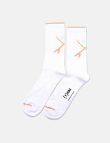 Democratique X YKIKI Athletic Socks - Clear White/Light Salmon/Green