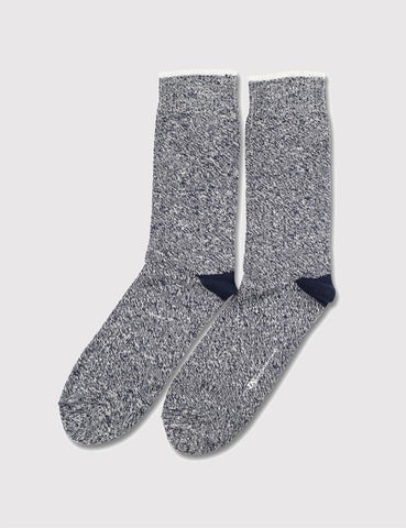 Democratique Relax Twister Socks - Navy Blue/Off White