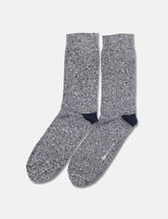 Democratique Relax Twister Socks - Navy/Off White