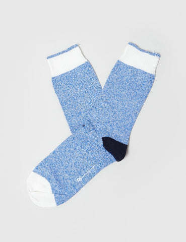Democratique Relax Melange Contrast Socks - Blue