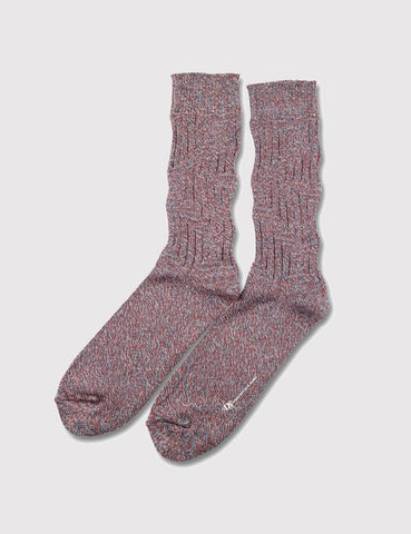 Democratique Relax ZigZag Socks - Petrol Blue/Rust