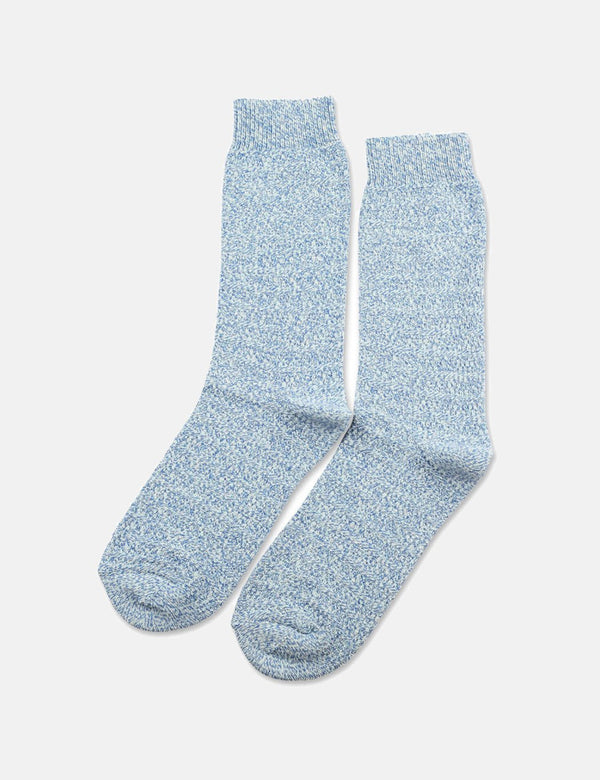 Democratique Relax Slub Knit Supermelange Socks - Poolside Green/Off White/Adams Blue