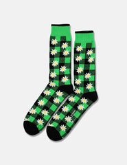 Democratique x Mark McNairy Buffalo Daisy Socks - Black/Sea Green