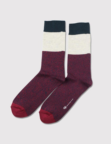 Democratique Relax Block Socks - Navy/Red Wine/Off White