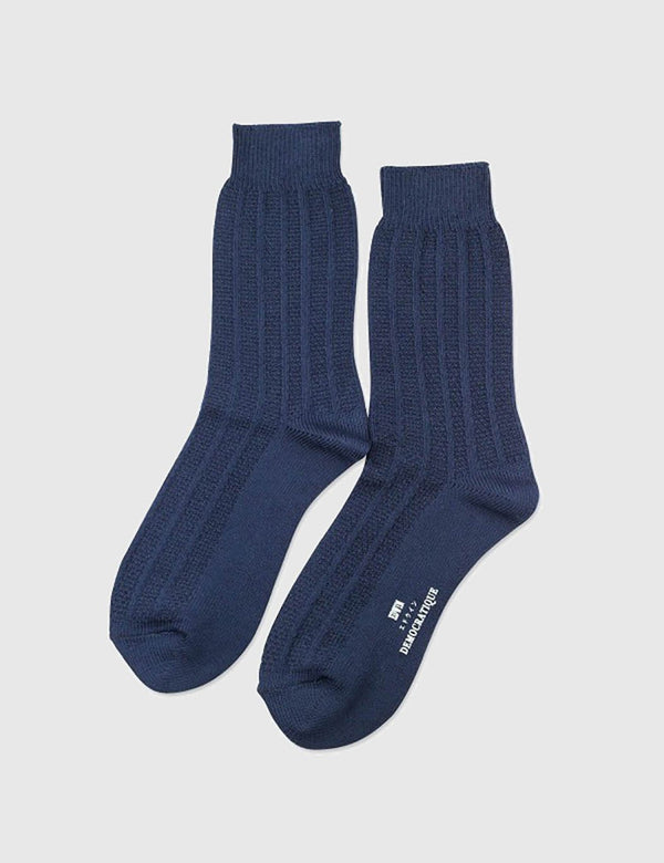 Democratique x Edwin Relax Rib Melange Socks - Navy - Article