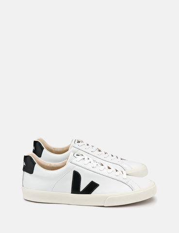 Veja Esplar Low Logo Leather Trainers - Extra White/Black