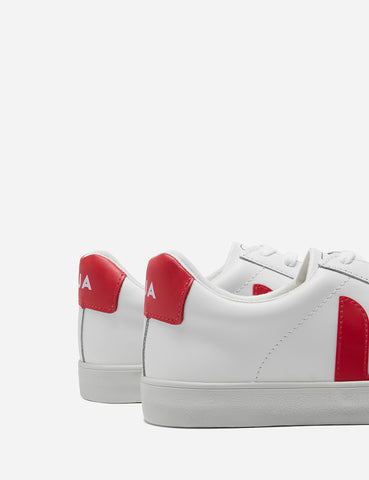 Veja Esplar Low Logo Leather Trainers - Extra White/Pekin Red