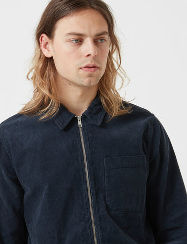 Portuguese Flannel Fecho Zip Jacket (Corduroy) - Dark Navy Blue