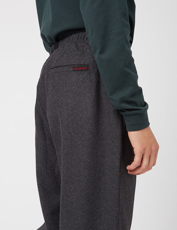 Gramicci Wool Blend Tuck Tapered Pants - Charcoal Grey