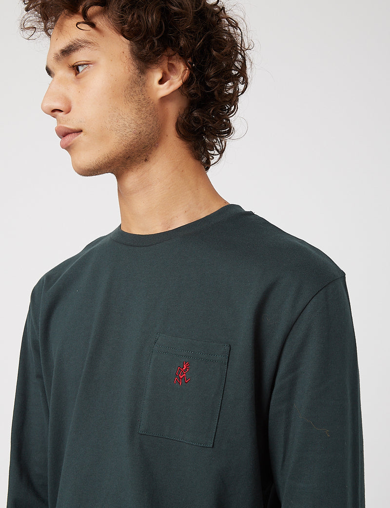 Gramicci One Point Long Sleeve T-Shirt - Deep Forest
