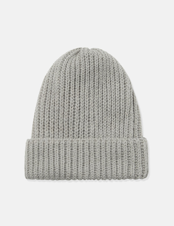 Highland Rib Beanie Hat (Wool/Alpaca) - Light Grey