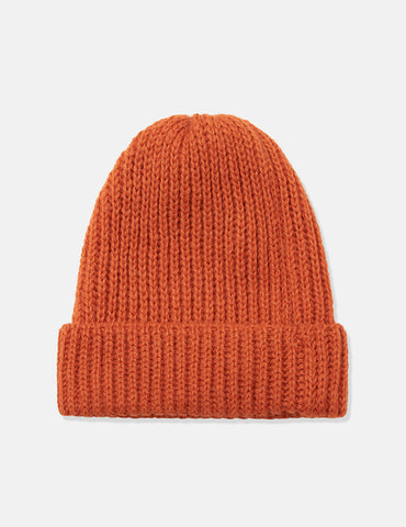 Highland Rib Beanie Hat (Wool/Alpaca) - Orange