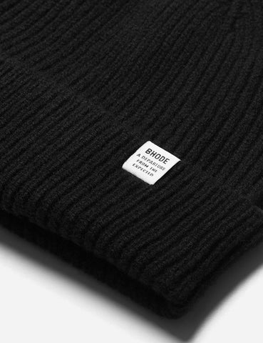 Bhode 'Hawick' Scottish Knitted Beanie Hat (Lambswool) - Black