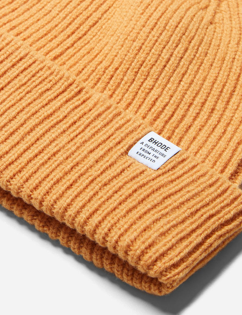 Bhode 'Hawick' Scottish Knitted Beanie Hat (Lambswool) - Harvest Gold Yellow