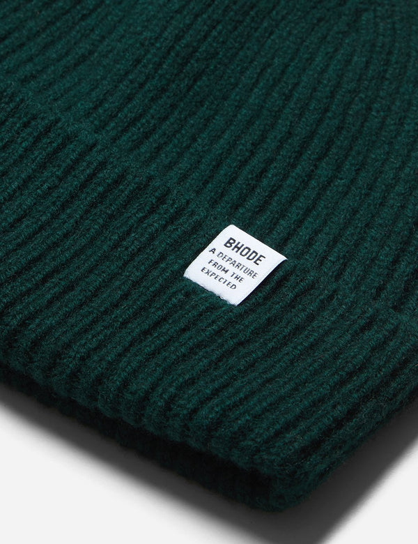 Bhode 'Hawick' Scottish Knitted Beanie Hat (Lambswool) - Tartan Green