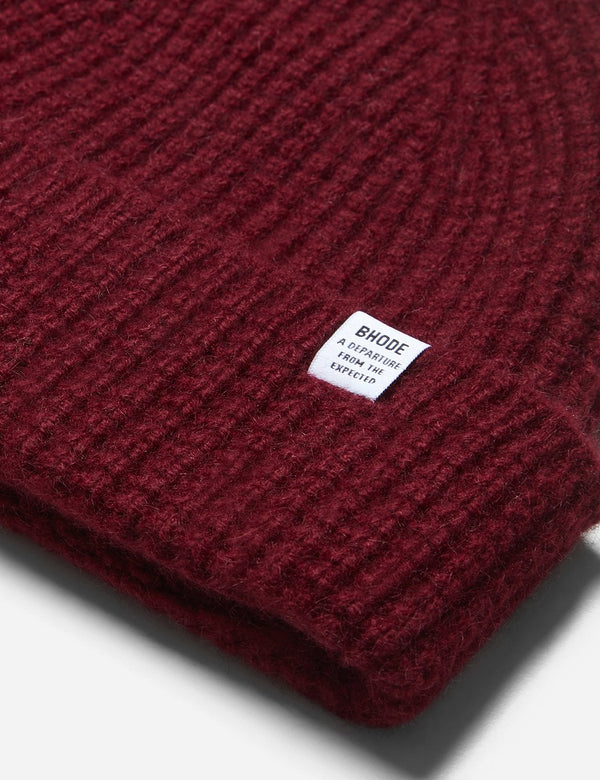Bhode 'Pineapple' Scottish Texture Beanie Hat (Lambswool) - Bordeaux Red