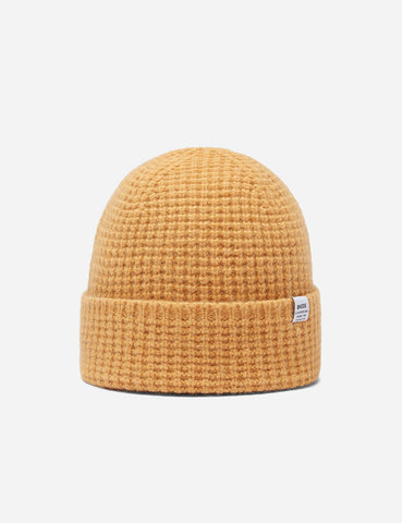 Bhode 'Pineapple' Scottish Texture Beanie Hat (Lambswool) - Mango Yellow