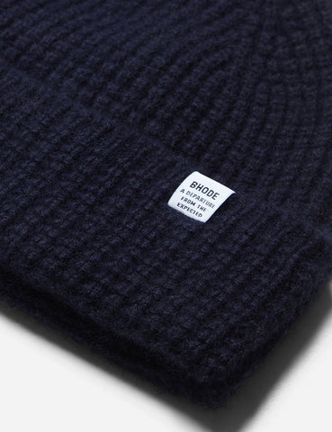 Bhode 'Pineapple' Scottish Texture Beanie Hat (Lambswool) - Navy Blue