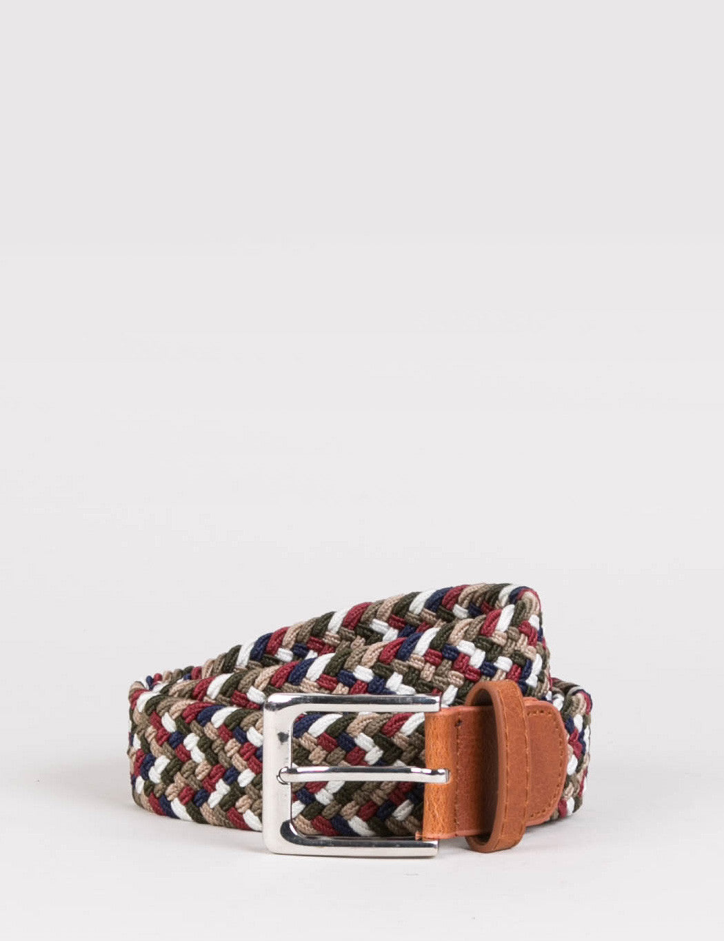 Hone Woven Plait Belt - Multi Olive/Blue
