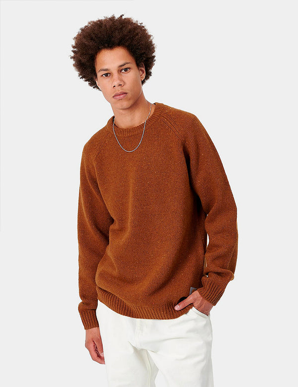 Carhartt-WIP Anglistic Knitted Jumper - Brandy Heather