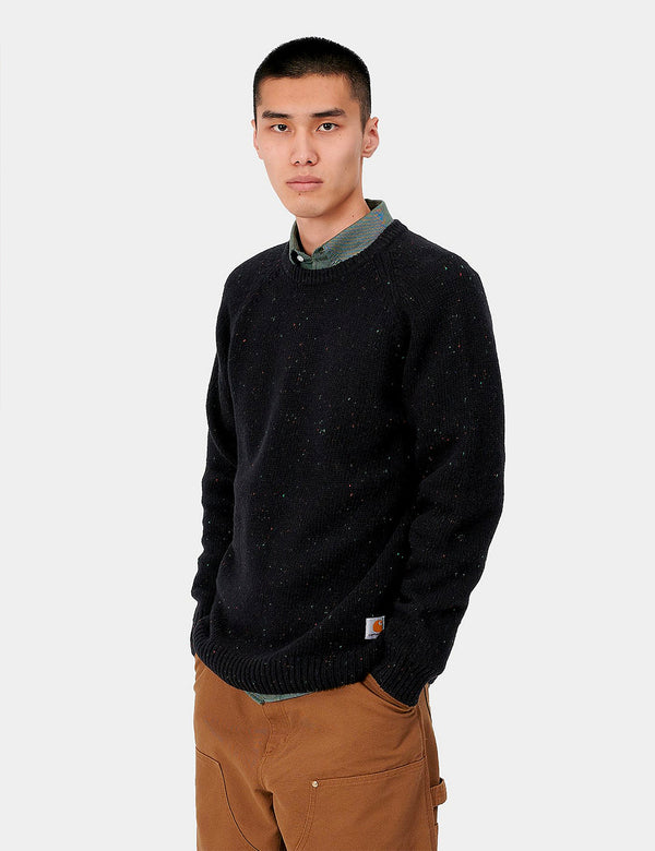 Carhartt-WIP Anglistic Knitted Jumper - Black Heather