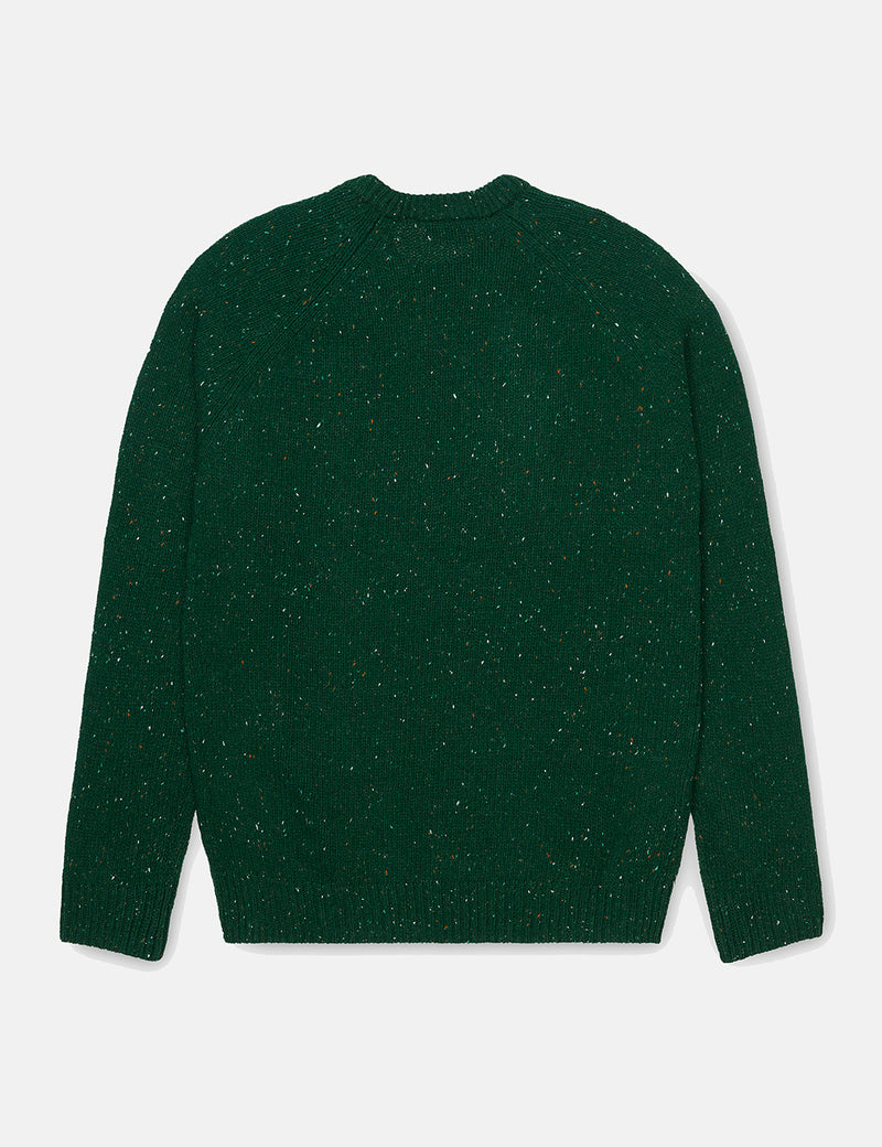 Carhartt-WIP Anglistic Knitted Jumper - Bottle Green Heather
