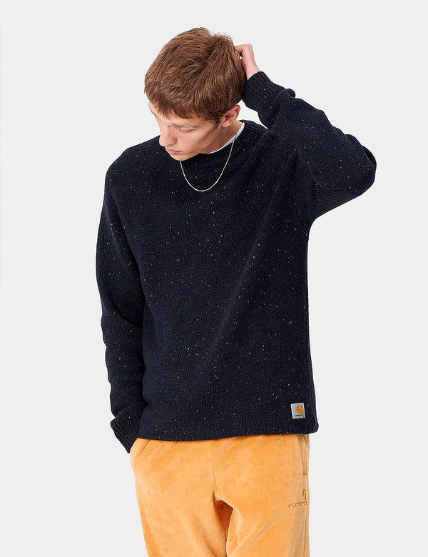 Carhartt-WIP Anglistic Knitted Jumper - Dark Navy Blue Heather
