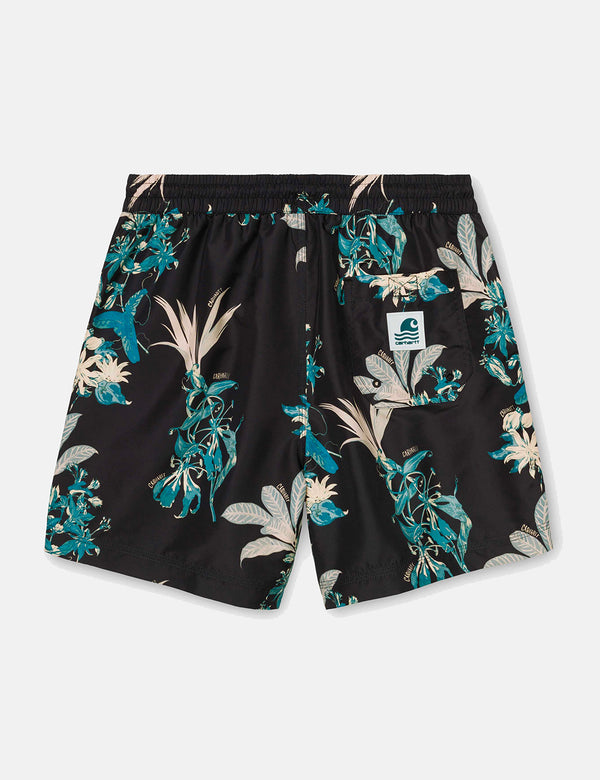 Carhartt-WIP Drift Swim Shorts - Hawaiian Floral Print/Black