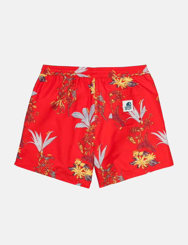 Carhartt-WIP Drift Swim Shorts - Hawaiian Floral Print/Red