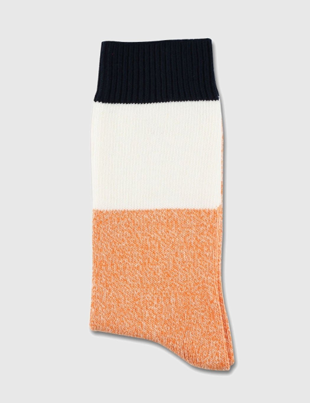 Democratique x Pointer Relax Block Socks - Navy/White/Orange
