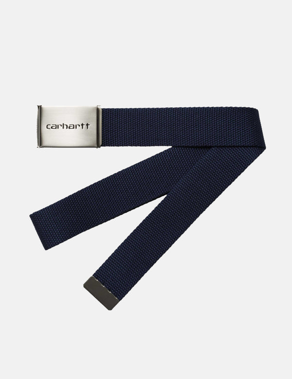 Carhartt-WIP Clip Belt Canvas (Chrome) - Dark Navy Blue