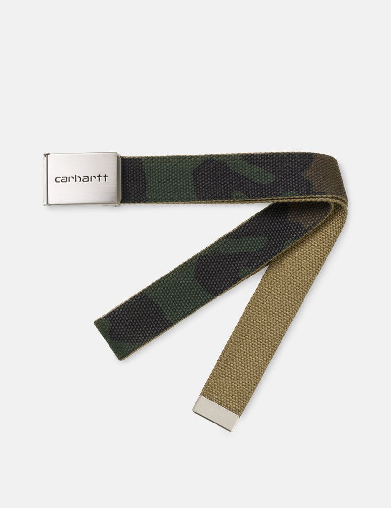Carhartt-WIP Clip Belt Canvas (Chrome) - Camo Laurel Green