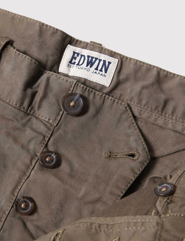 Edwin Rail Sateen Stretch Shorts - Khaki