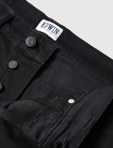 Edwin ED-55 CS Ink 11oz Black Denim Shorts - Black Rinsed
