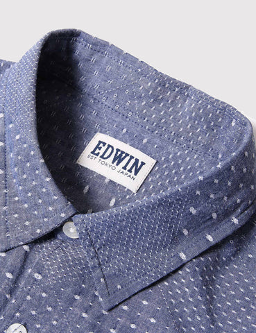 Edwin Nimes Short Sleeve Chambray Shirt - Chambray Blue
