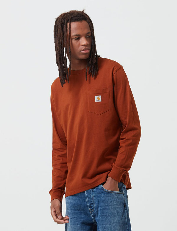 Carhartt-WIP Pocket Long Sleeve T-Shirt - Brandy