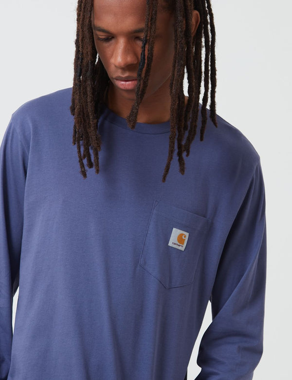 Carhartt-WIP Pocket Long Sleeve T-Shirt - Cold Viola
